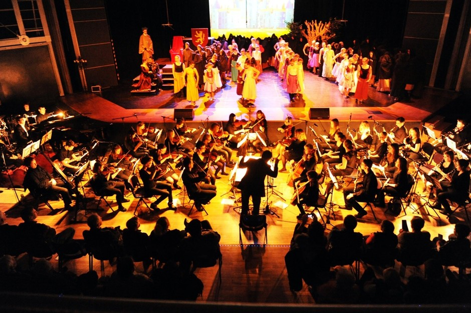 """Unser Orchester mit seinen Streich-, Blas- und Schlaginstrumenten begeisterte nicht nur beim großen Musical """"Robin Hood"""", eine tolle Truppe auch über die Musik hinaus…"""