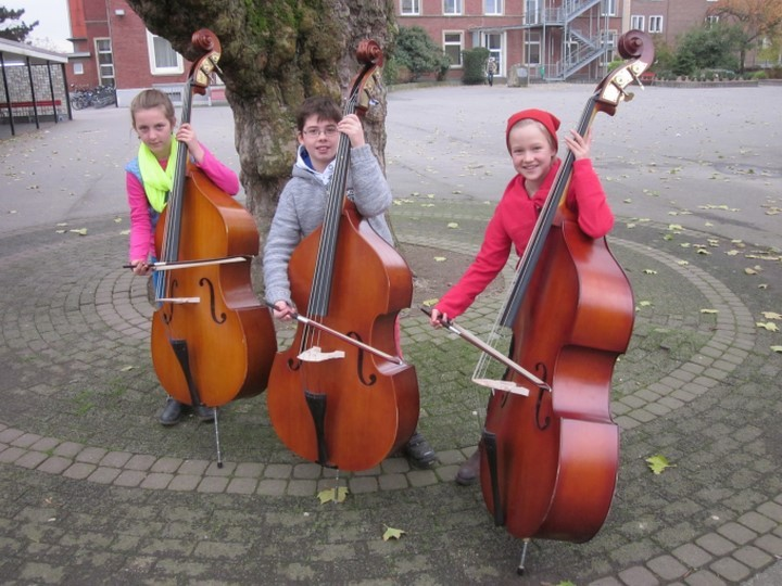 """Ein Instrument an der Schule erlernen, von der ersten Note an in einem eigenen Orchester spielen, zusammen musizieren, von Klassik bis Pop, von der """"kleinen"""" Geige bis zum """"großen"""" Kontrabass….all das ist unsere Streicherklasse."""